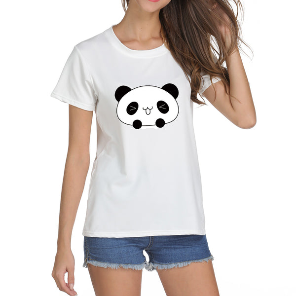 Cute Panda Face T-shirt Print for Women - Cute Wayz