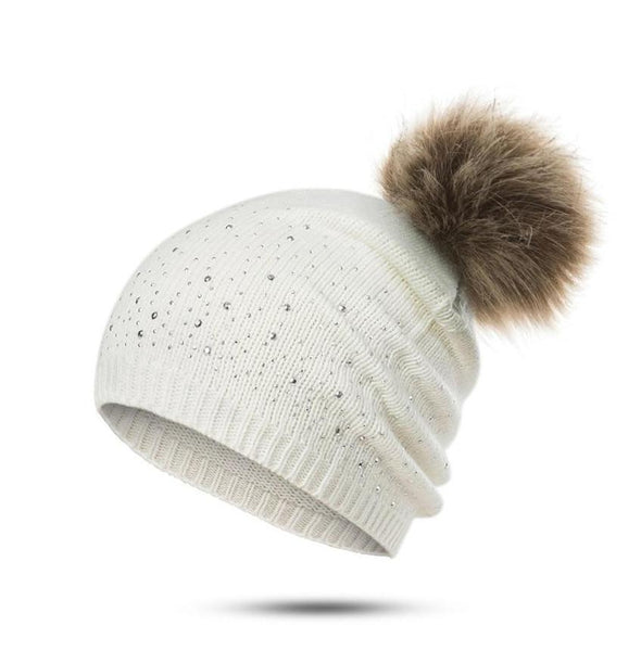 Beanie with Pom Pom and Rhinestones - Cute Wayz