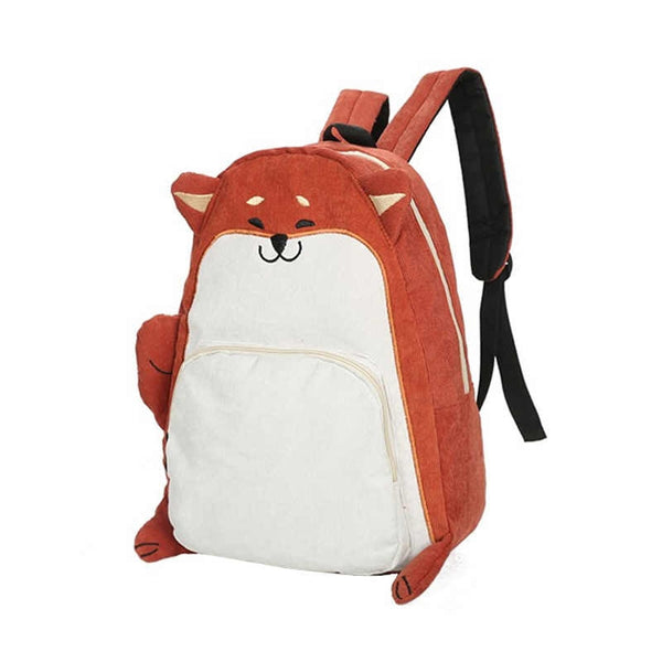 Pug and Squirrel Backpack Corduroy Bag - Cute Wayz