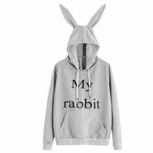 Rabbit Hoodie with Ears Pullover - Cute Wayz