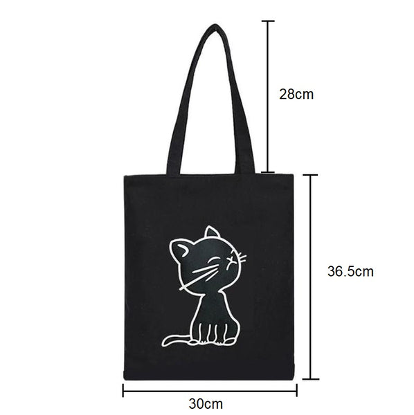Cat or Duck Print Canvas Tote Shoulder Bag - Cute Wayz