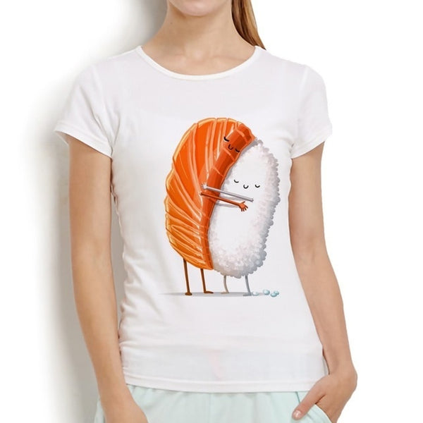 Cute Sushi Salmon and Rice Hug T-shirt Print for Ladies - Cute Wayz