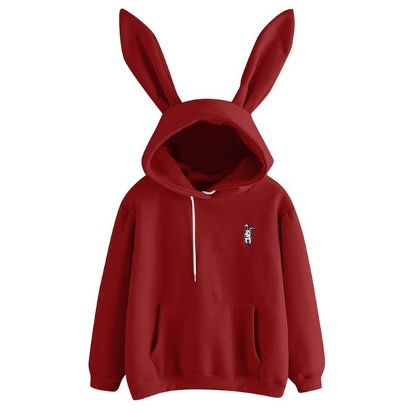 Rabbit Ear Hoodie Pullover with Embroidered Bunny - Cute Wayz