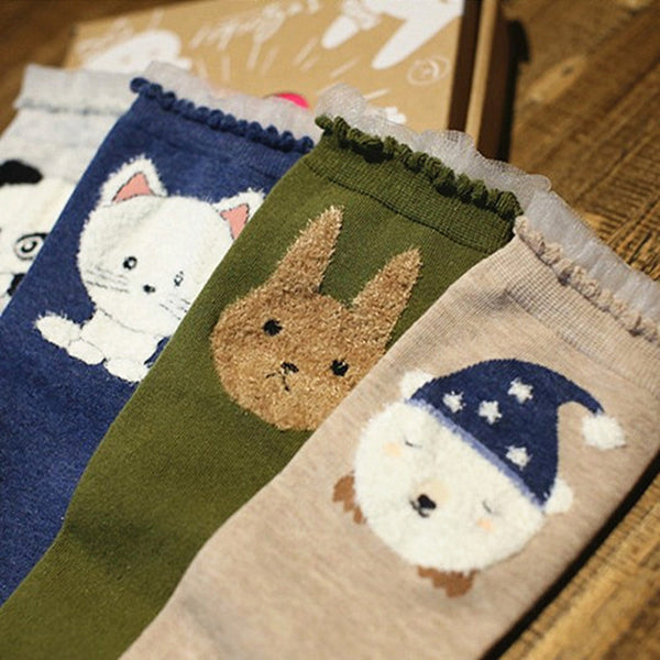 Lace Trim Socks with Sewn Animals Cartoon 4 Pairs - Cute Wayz