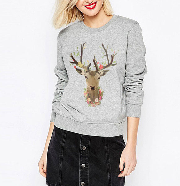 Adorable Deer Antler Print Sweatshirt Pullover - Cute Wayz