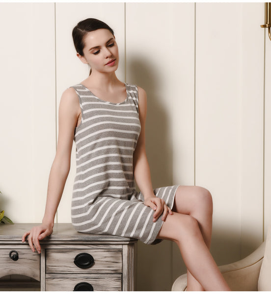 Lovely Nightie Pajamas Sleepwear in Striped - Cute Wayz