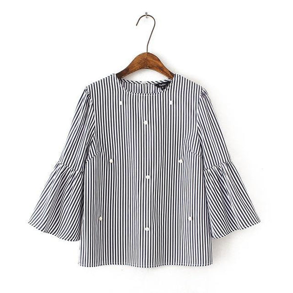 Cute Blouse with Stripes and Pearl Beads for Women - Cute Wayz