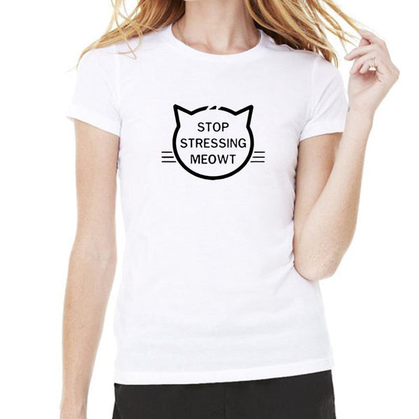 Cute Cat T-shirt Print Stop Stressing Meowt - Cute Wayz