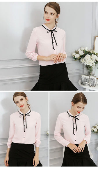 Cute Blouse in Long Sleeve with Ribbon Bow for Women - Cute Wayz