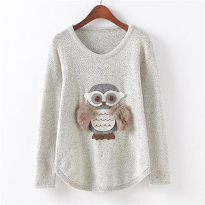 Adorable Pullover Sweater with Owl Design - Cute Wayz