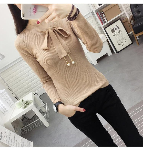 Cute Long Sleeve Sweater with Neck Ribbon Tie - Cute Wayz