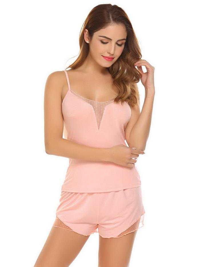 Cute Camisole 2 piece Pajamas Sleepwear Set - Cute Wayz