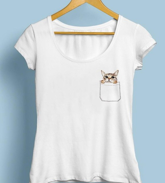 Cute Cat in Pocket T-shirt - Cute Wayz