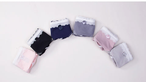 Cute Women's Underwear Lace with Bow Ribbon Panties 3 Pieces - Cute Wayz