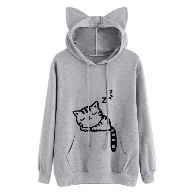 Cute Cat Ear Hoodie Pullover with Sleeping Cat Print - Cute Wayz