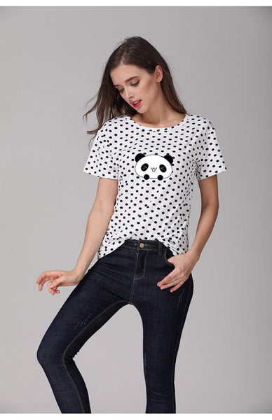 Panda Polka Dot T-shirt for Women - Cute Wayz