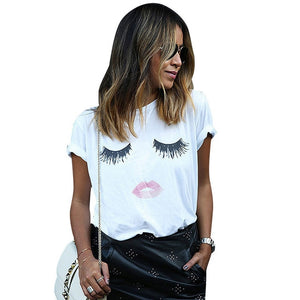 Eyelashes and Lips T-shirt for Women - Cute Wayz