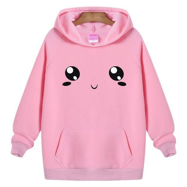 Adorable Cartoon Face Print Hoodie Pullover - Cute Wayz