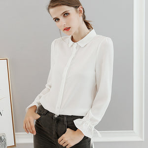 Blouse Shirt Top with Ruffled Ribbon Sleeves - Cute Wayz