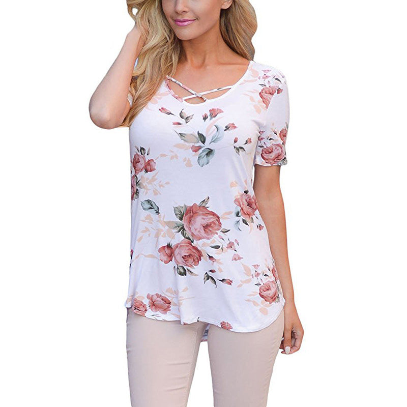 Cute Floral Rose Print Cross V-neck Blouse for Women - Cute Wayz