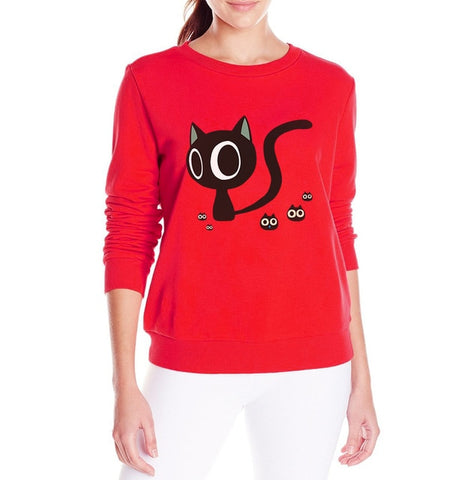 Cute Cat Cartoon Sweatshirt Pullover - Cute Wayz