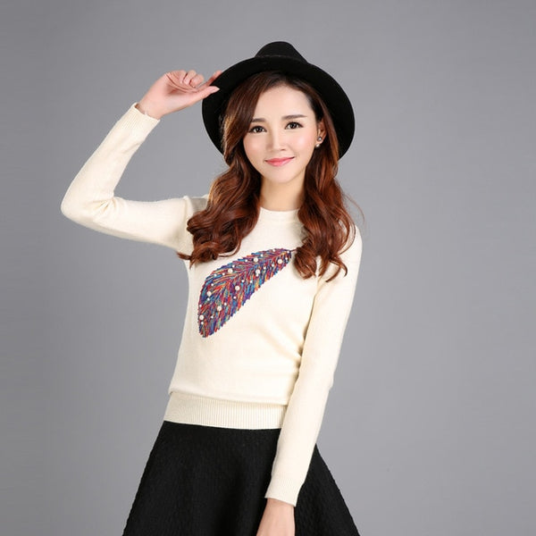 Cute Pullover Sweater with Lovely Feather Design - Cute Wayz