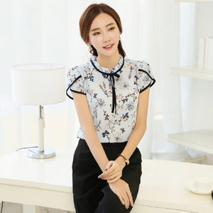 Cute Floral Blouse with Ruffle Neck Ribbon Tie - Cute Wayz