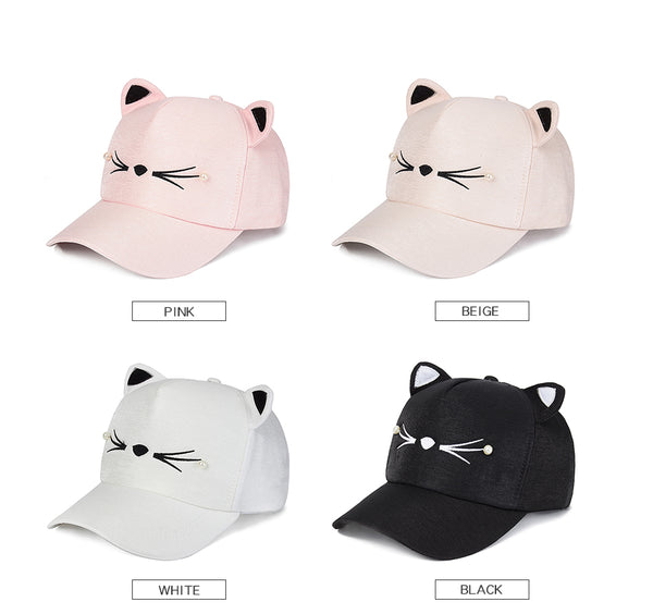 Cute Baseball Cap with Cat Design for Women - Cute Wayz