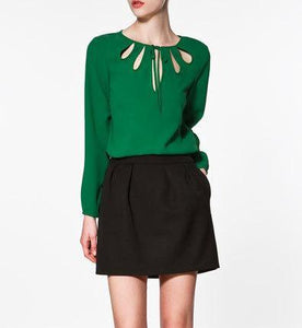 Blouse with Keyhole Neckline in Long Sleeve - Cute Wayz