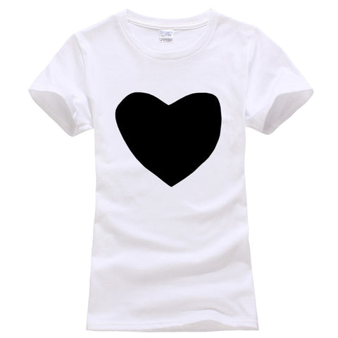 Heart T-shirt Print for Women - Cute Wayz