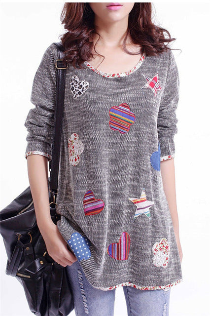 Cute Women's Pullover Sweater with Lovely Embroidery - Cute Wayz