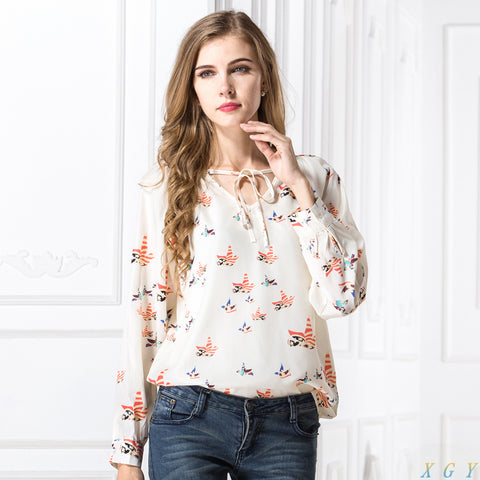 Lovely Long Sleeve Blouse with Doves Print - Cute Wayz