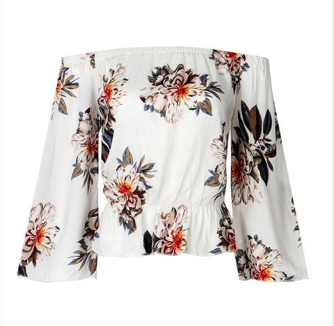 3/4 Sleeve Off Shoulder Blouse in Floral Print - Cute Wayz