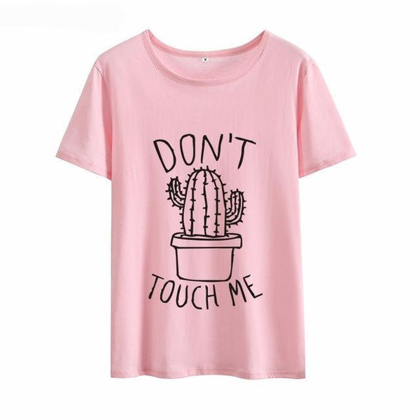 Cute Cactus Don't Touch Me Women's Print T-shirt - Cute Wayz