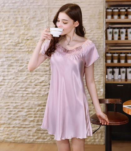 Sweet Satin Nightie Sleepwear Pajamas - Cute Wayz