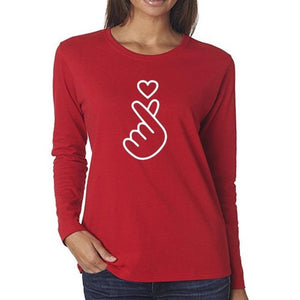 Cute Heart Sign Long Sleeve T-shirt - Cute Wayz
