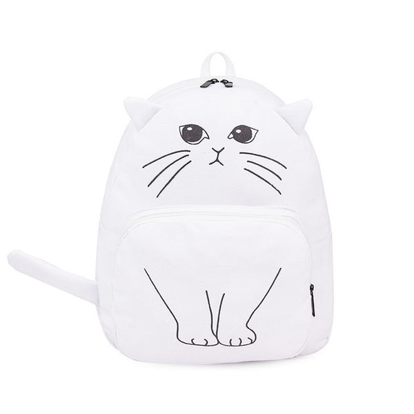 Cat Canvas Backpack with Cat Ears and Tail Bag - Cute Wayz