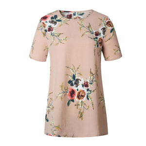 Short Sleeve Blouse with Floral Print Top - Cute Wayz