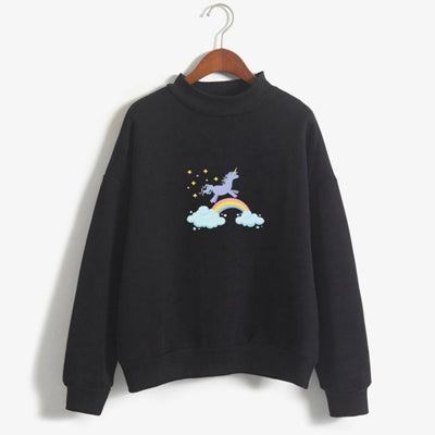 Unicorn on Rainbow Sweatshirt Pullover - Cute Wayz