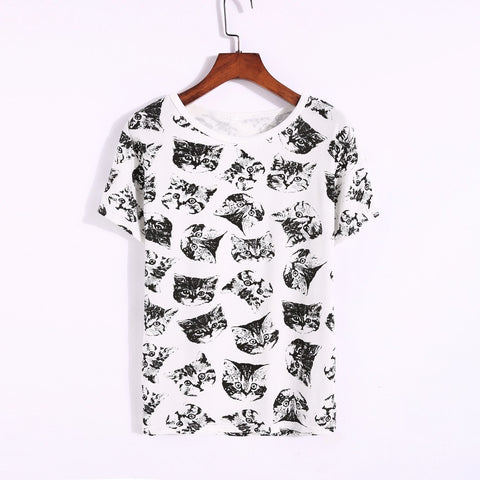 Cute Cat Faces T-shirt Print for Women - Cute Wayz