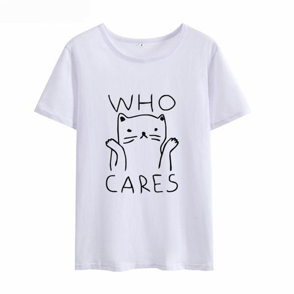 Cute Cat Who Cares Women's Print T-shirt - Cute Wayz