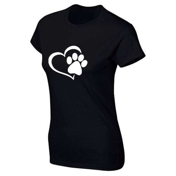 Heart & Paw T-shirt Print for Women - Cute Wayz