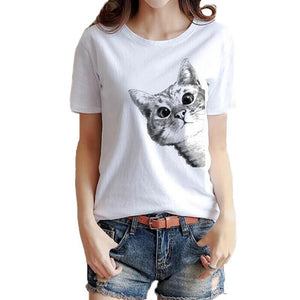 Cute Cat Print T-shirt for Women - Cute Wayz