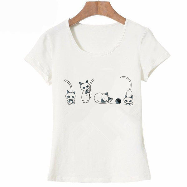 Cute Cat Postures T-shirt Print for Women - Cute Wayz