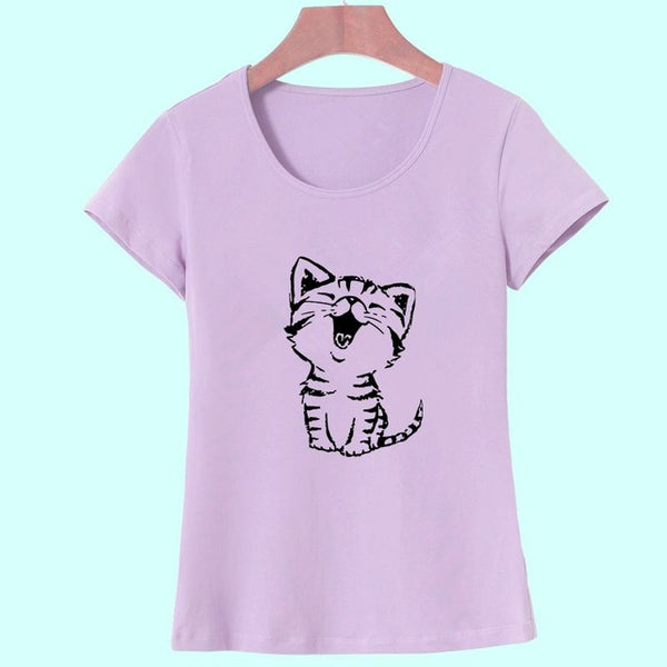 Adorable Cat Smiling T-shirt Print for Women - Cute Wayz