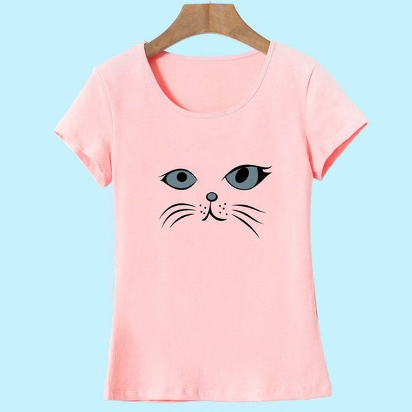 Adorable Cat Face T-shirt Print - Cute Wayz