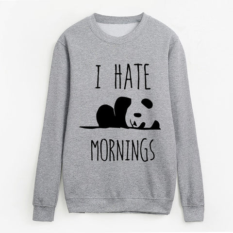 Cute Panda I Hate Mornings Sweatshirt Pullover - Cute Wayz