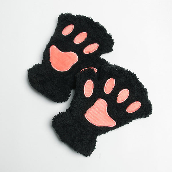Cute Fingerless Plush Paw Half Gloves - Cute Wayz