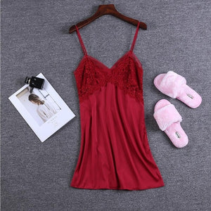 Satin Lace Nightie Sleepwear Pajamas - Cute Wayz
