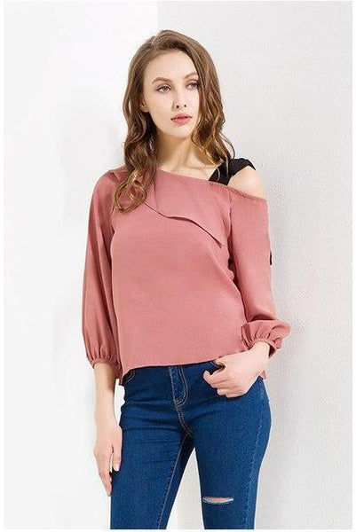 Blouse with Shoulder Bow Strap - Cute Wayz